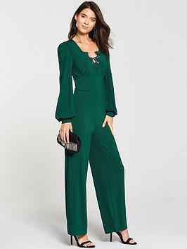 v-by-very-lace-trim-jumpsuit-green