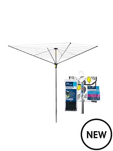 minky-rotary-airer-by-minky-easy-breeze-45-metre-4-arm-rotary-airer-with-accessory-pack