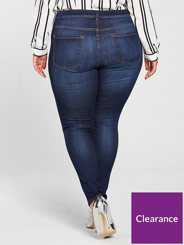 Womens Skinny Jeans Black Supersoft V By Very Curve Stretchy 12 14 16 18 20 22