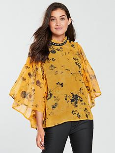 religion-religion-poise-frill-sleeve-printed-blouse