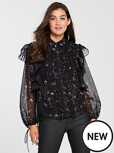 religion-luster-frill-detail-printed-blouse-jet-black