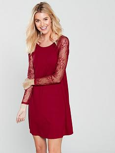 v-by-very-lace-sleeve-jersey-swing-dress-red