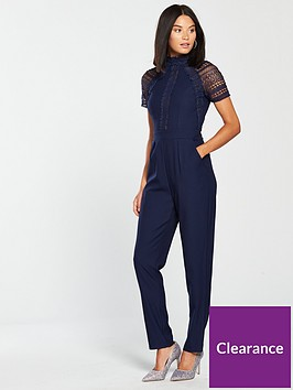 a8e4145c108 Little Mistress Lace Top Jumpsuit - Navy