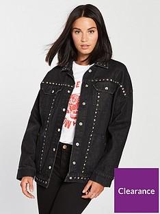 religion-motive-studded-longline-denim-jacket-washed-black