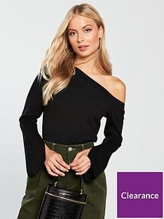 v-by-very-split-sleeve-one-shoulder-top-black