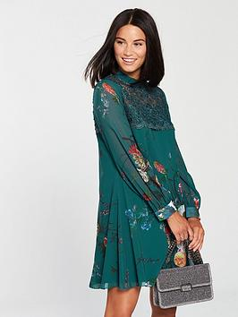 little-mistress-little-mistress-high-neck-crochet-top-printed-vintage-floral-shift-dress