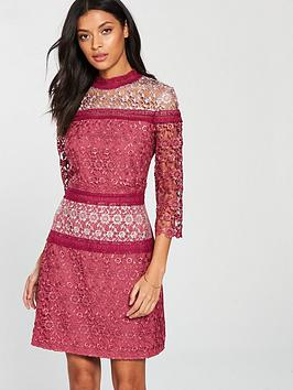 little-mistress-high-neck-crochet-shift-dress-berry