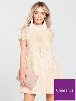 little-mistress-petite-short-sleeve-lace-shift-dress-nude