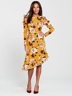 v-by-very-frill-asymmetric-cold-shoulder-dress-floral-print