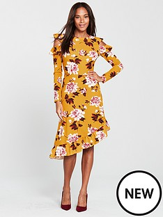 v-by-very-frill-asymmetric-cold-shoulder-dress-floral-print