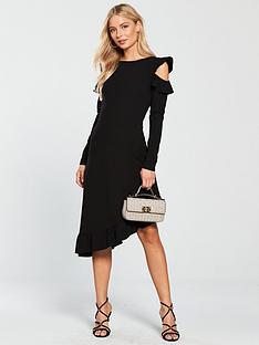 v-by-very-asymmetric-frill-hem-cold-shoulder-dress-black