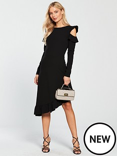 v-by-very-asymmetric-frill-hem-cold-shoulder-dress-black