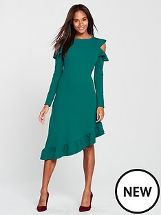 v-by-very-frill-asymmetric-cold-shoulder-dress-green