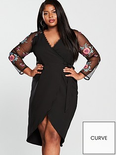 little-mistress-curve-v-necknbspbodycon-dress-black