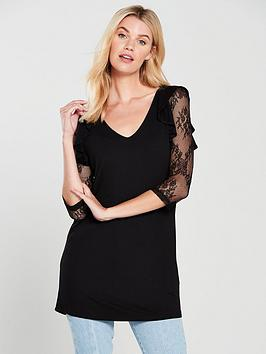 v-by-very-lace-sleeve-longline-top-black