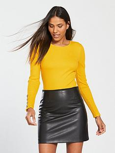 v-by-very-button-cuff-rib-top-mustard