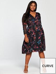 junarose-junarose-tonic-mesh-sleeve-printed-knee-length-dress