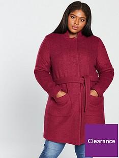 6e47471296e JUNAROSE Hasla Collarless Wrap Coat - Rumba Red