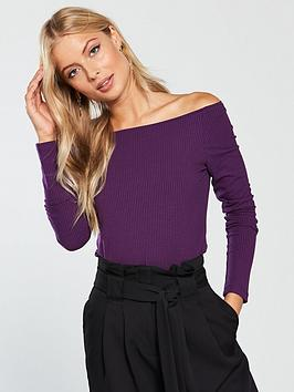 v-by-very-boat-neck-fitted-top-grape