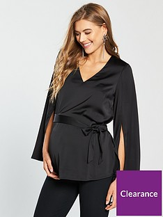 mama-licious-maternity-blimah-woven-top-with-fluted-sleeve-blacknbsp
