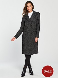 vero-moda-highland-herringbone-double-breasted-coat-black