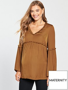 mama-licious-maternity-bitra-woven-top-with-fluted-sleeves-and-tie-detailing