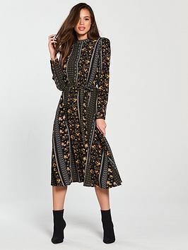 vero-moda-mally-long-sleeve-high-neck-calf-dress-printed