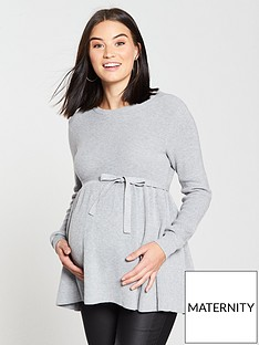 mama-licious-maternity-zoe-knitted-top-with-tie-detailing-greynbsp