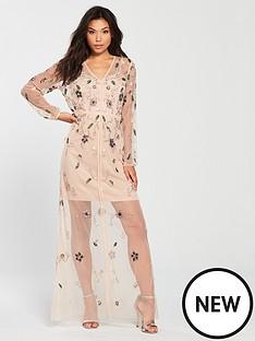 frock-and-frill-frock-amp-frill-v-neck-sheer-detail-embellished-midi-dress