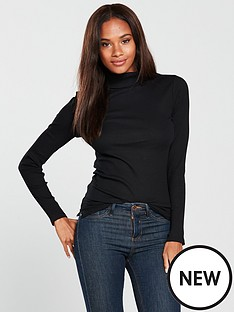 v-by-very-rib-polo-neck-top-black