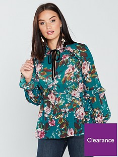 034de910d40c V by Very Ruffle Frill Tie Neck Blouse - Green Floral