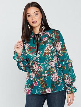 v-by-very-ruffle-frill-tie-neck-blouse-green-floral