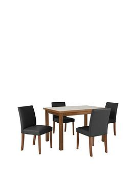 morris-120-150-cm-solid-wood-extending-table-4-chairs-blackwalnut