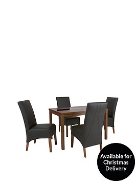 mccauley-120-cm-solid-wood-and-glass-dining-table-4-chairs-blackwalnut