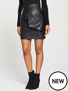 v-by-very-high-waist-belted-origami-mini-skirt-blacknbsp