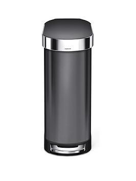 simplehuman-slim-45-litre-stainless-steel-pedal-bin-ndash-black