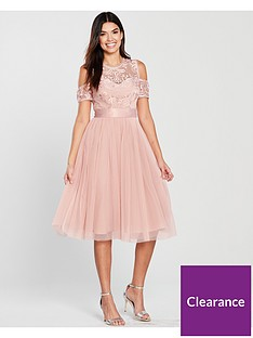 71f7226e1cc V by Very Bridesmaid Cold Shoulder Prom Dress - Blush