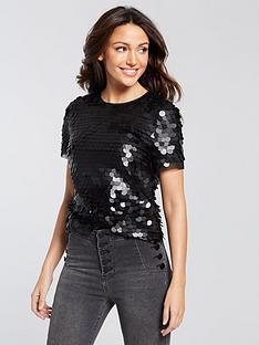 michelle-keegan-sequin-top-black