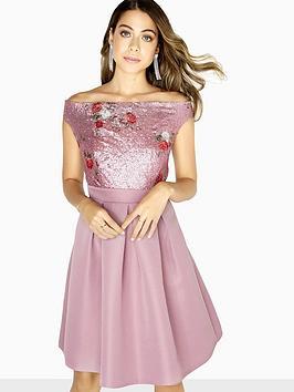 little-mistress-sequin-top-bardot-skater-dress-canyon-rose