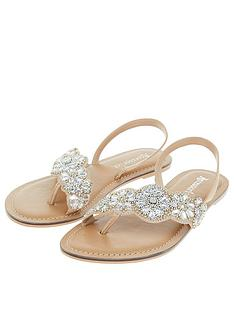 0545a24bed21ac Accessorize Lydia Flower Embellished Sandal - Gold