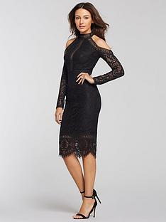 michelle-keegan-cold-shoulder-lace-pencil-dress-black