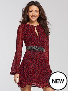 michelle-keegan-chain-detail-tea-dress-leopard-print