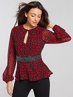 michelle-keegan-chain-detail-blouse-leopard-print