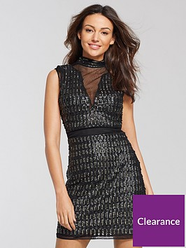 michelle-keegan-pu-embellished-mini-dress-black