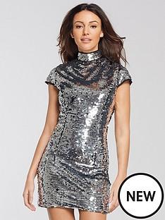 michelle-keegan-sequin-shift-dress-silver