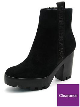 b21bac88e357 Calvin Klein Serina Suede Block Heel Ankle Boot - Black ...