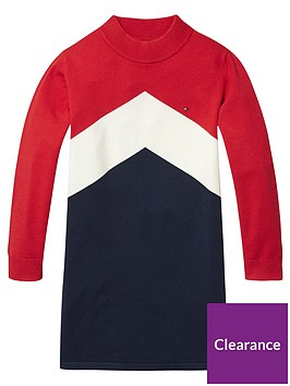 tommy-hilfiger-girls-chevron-sweat-dress-red