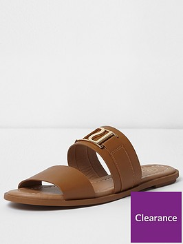 river-island-two-strap-slide-tan