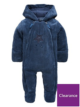 00ad429e7 Mamas   Papas Baby Boys Blue Faux Fur Pramsuit