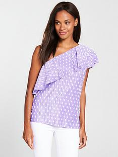 v-by-very-spot-plisse-one-shoulder-top-lilac